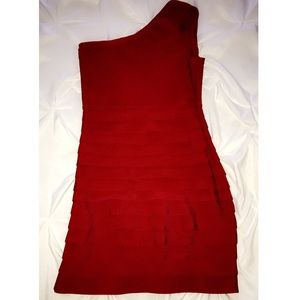 One shouldered red pencil dress